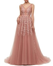 Womens V-Neck Floral Lace Applique Long Prom Dress Aline Tulle Evening B... - $145.99