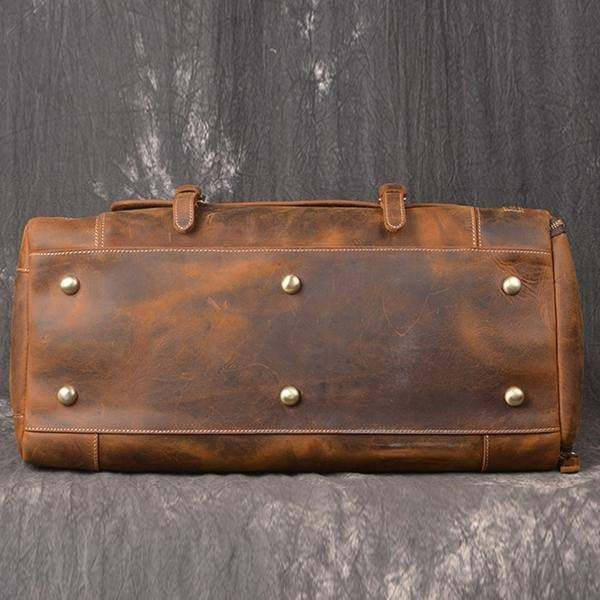 On Sale, Handmade Leather Luggage Bag, Vintage Weekend Bag, Travel Bag image 3
