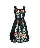Cute Rockabilly 50s Retro Black Skeleton Rose Belted Dress Vintage Pin U... - $71.53