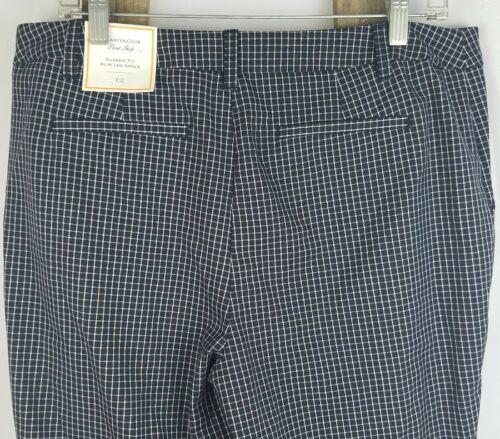 Charter Club women 12 black checkers classic fit slim leg ankle dress pants