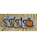 Coffee Cup Coasters, Plastic Canvas, Handmade, Cross Stitch, Square, Summer - $17.00