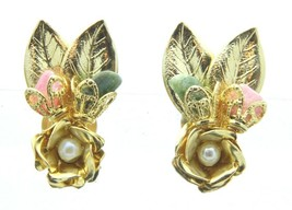 Pink Green Stone White Faux Pearl Gold Tone Rose Clip-On Earrings Vintage - $19.79