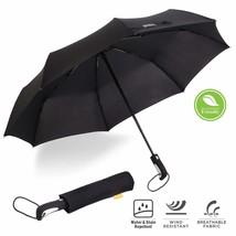 Automatic Umbrella Windproof Mens Black Compact Wide Auto Open Close Lig... - $12.63