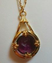 Vintage Avon Gold-tone Intaglio Purple Glass Prong-set Cameo Pendant Necklace - $22.28