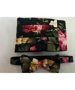 BLACK TAN FLORAL Bowtie -Hanky,  Pocket Square,  Bow tie, Cummerbund,  B... - $11.50
