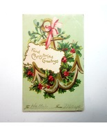 Vintage 1907 Embossed Christmas Greetings Postcard with1 Cent Ben Frankl... - $4.99
