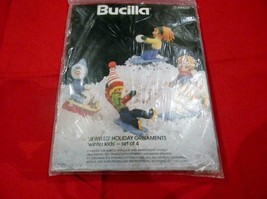 BUCILLA # 48622 JEWELED HOLIDAY ORNAMENTS WINTER KIDS SET OF 4 NEW IN PACK! - $16.95