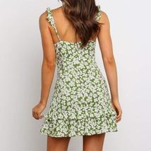 Trendy Vintage Green Floral Ruffle Summer Beach Sundress image 4