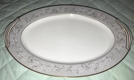 "Noritake CHELSEA Oval Platter Tray 13.5"" Japan 5822 Gray Band White Flowers - $34.99"