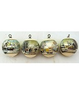 Satin Silk Ball Christmas Ornaments Wrapped Winter Scene Lot of 4 Vintage  - $29.69
