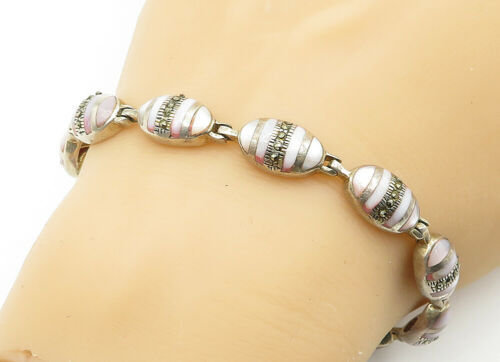 925 Sterling Silver - Vintage Mother Of Pearl & Marcasite Chain Bracelet - B6249