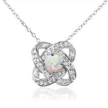 Sterling Silver Simulated White Opal and White Topaz Love Knot Necklace - $97.22