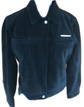 Tommy Hilfiger Womans Petite Medium Black Suede Zip Front Motorcycke Jacket - $130.67