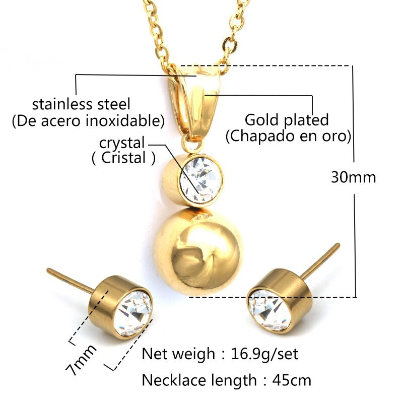 Shiny Ball Earrings With Necklace Pendant Women Jewelry Sets Stainless Steel Gol image 2