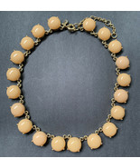 J Crew Tan Cream Necklace Plastic Gold Tone Statement Costume Neutral Si... - $15.80