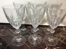 Beautiful Set of 6 Cut Glass Heavy Wine Glasses - $9.90