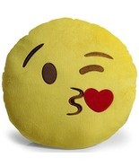Emoji Kissy Face with Heart Throw Pillow Kids Teen Bedroom - $17.95
