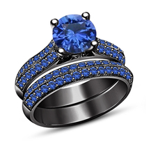 Womens Wedding Anniversary Blue Sapphire Bridal Ring Set Black Finish 92... - $106.99