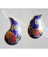 Elegant Blue Cloisonne Enamel Flowers & Butterfly Pierced Earrings 1970s... - $12.95