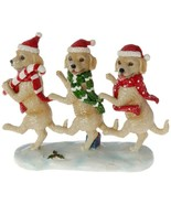 """Raz Imports dancing dogs puppy 11"""" x 9"""" resin new 3711180 Christmas gold... - $47.99"""