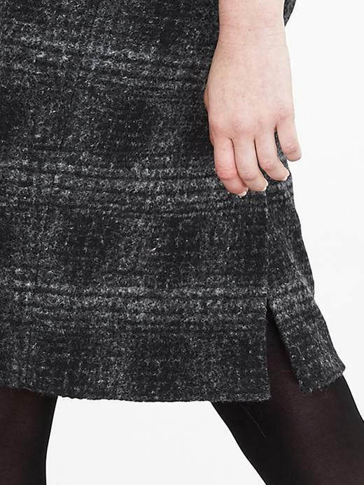Banana Republic Plaid Pencil Skirt, Gray/black, Wool Blend, Size 12, NWT image 5