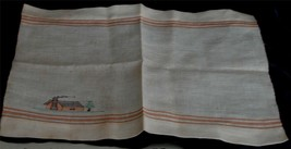 Nice Vintage Linen Place Mat, with Cute Embroidery and Stitching, VG COND - $5.93