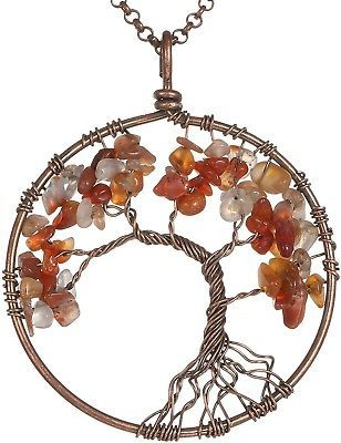 Gemstone Necklace Pendant Tree Of Life, BRCbeads Red Agate/Carnelian Crystal 20