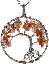 Gemstone Necklace Pendant Tree Of Life, BRCbeads Red Agate/Carnelian Cr... - $24.01