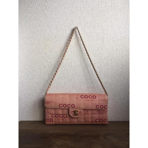 abd53538cfc12e 12. 12. Previous. Auth CHANEL Shoulder Bag Pink Matelasse Chocolate Bar Flap  Logo Pouch B1433. Auth ...