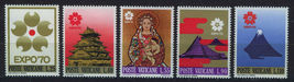 1970 Osaka Expo Set of 5 Vatican City Postage Stamps Catalog Number 479-83 MNH