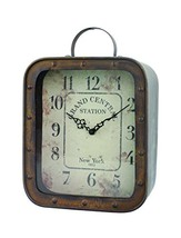 Stonebriar Large Square Rustic Metal Table Top Clock with Handle and Riv... - $50.25