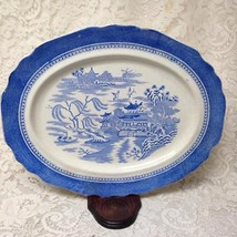 Antique, Rare, Royal Worcester, Blue Willow 17in x 14in Oval Serving Pla... - $94.95