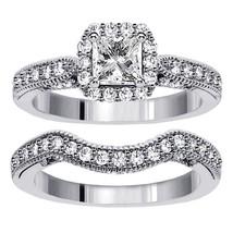 14k White Gold Plated 925 Silver Princess Cut CZ 2Pcs Bridal Engagement Ring Set - $84.20