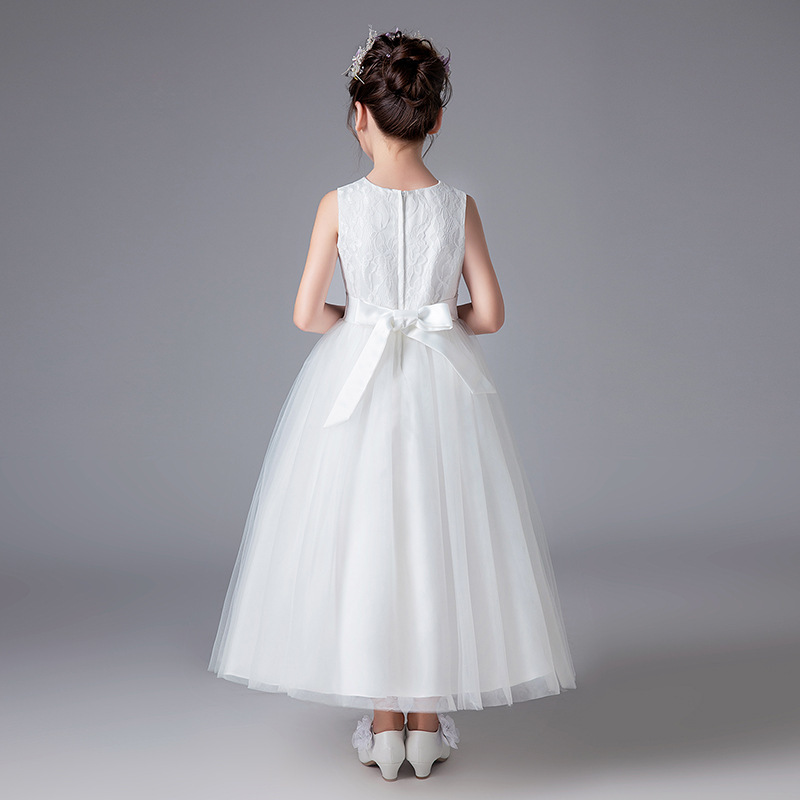 Wedding Flower Girls Dresses White Half Sleeve Pageant Gowns A Line Party Gowns