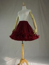Burgundy MIDI Tulle Skirt Women High Waist Tulle Midi Skirt Ballet Dance Skirt image 10