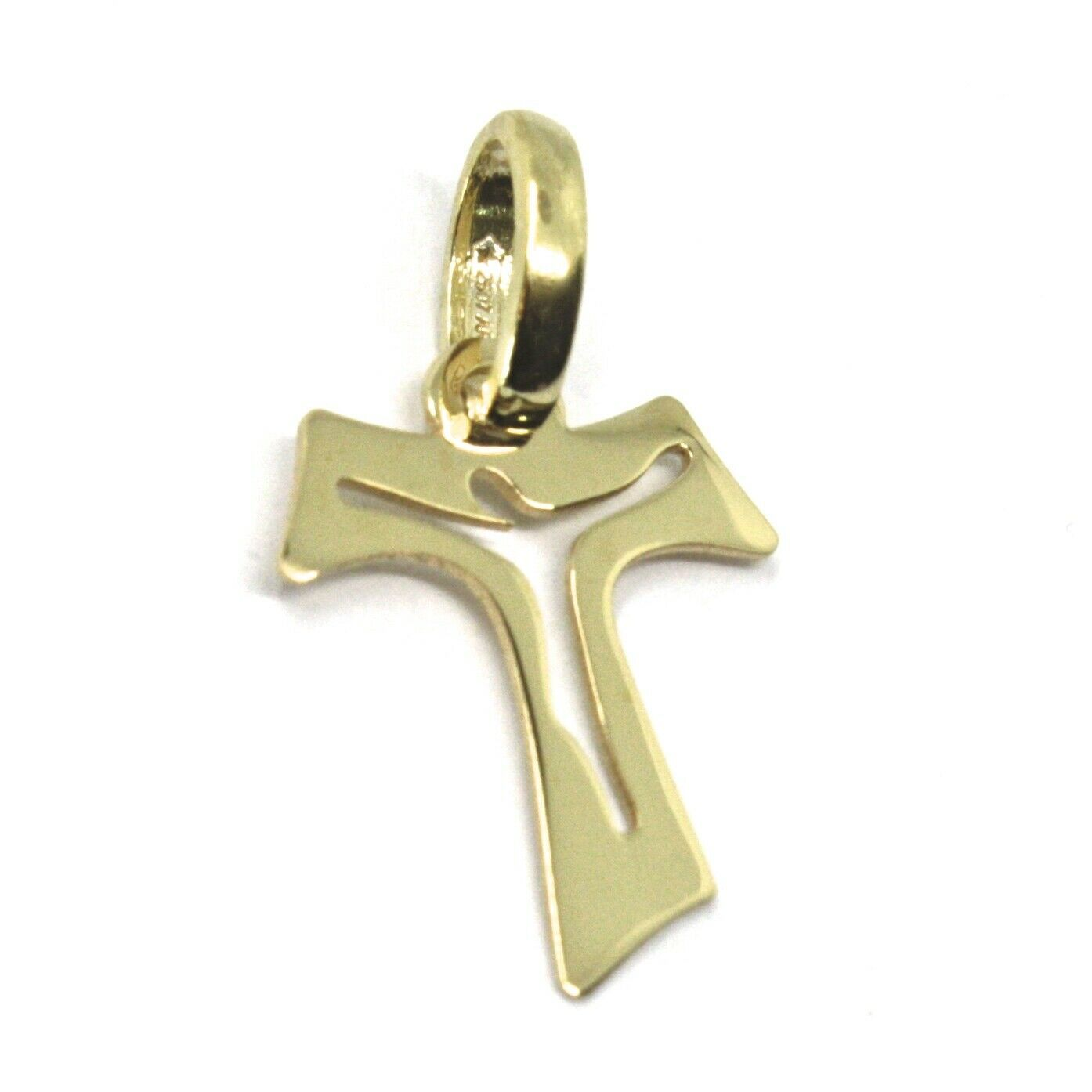 18K YELLOW GOLD CROSS, FRANCISCAN TAU TAO SAINT FRANCIS WITH JESUS, 0.6 inches