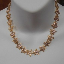 Designer Signed METALL Rhinestone Star Necklace  - $118.80
