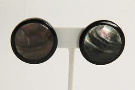 VINTAGE Jewelry ABALONE SHELL INLAID PLASTIC BUTTON CLIP EARRINGS - $10.00
