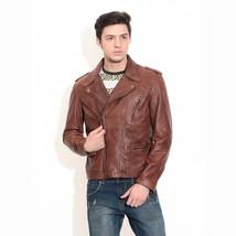 Mens Vintage Biker Motorcycle Cafe Racer Distressed Brown Real Leather J... - $99.99