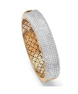 "11.55 TCW Cubic Zirconia 14k Gold-Plated Bangle Bracelet 7"" - $93.74"
