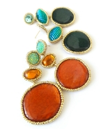 Orange Earrings, Teal Earrings, Blue Earrings, Long Earrings, Unique Ear... - $47.00