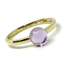 SOLID 18K YELLOW GOLD RING, CABOCHON CENTRAL PURPLE AMETHYST, DIAMETER 6mm image 1