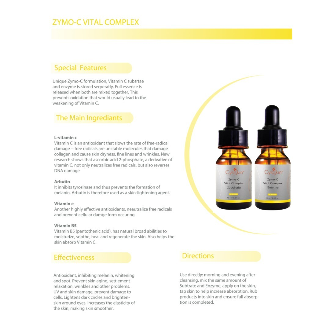 CytoSkin Zymo-C Vital Complex, Facial Serum with Vitamin C, 15ml*2 + Free Sample