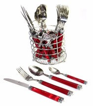 Stainless Steel 24-Piece Flatware Set with Red Marble Design Handles - $37.36