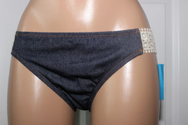 NEW Kenneth Cole The Ruffle Shuffle Crochet Tab Bikini Bottom Indigo XL RS6RH97 - $11.84