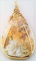 Opalite Gold Wire Wrap Pendant 23 - $44.00