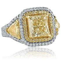 4.49 Ct Yellow Princess Cut Trillion Side Diamond Engagement Ring 18K Wh... - $7,704.46