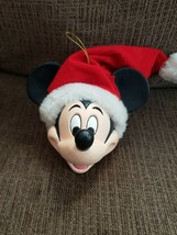 Vintage Disney Mickey Mouse Head with Santa Hat Christmas Ornament - $9.85