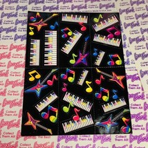 VTG Lisa Frank Complete Sticker Sheet Guitar Keyboard Piano Music S143 QuickSHIP