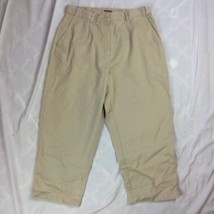 Womens 12 Petite 12P LL Bean Capri Pants Tan Original Fit Fall Spring 31x22 - $9.49